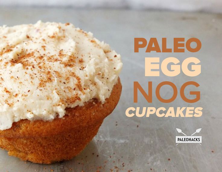 Soft and fluffy paleo eggnog cupcakes with creamy vanilla frosting.