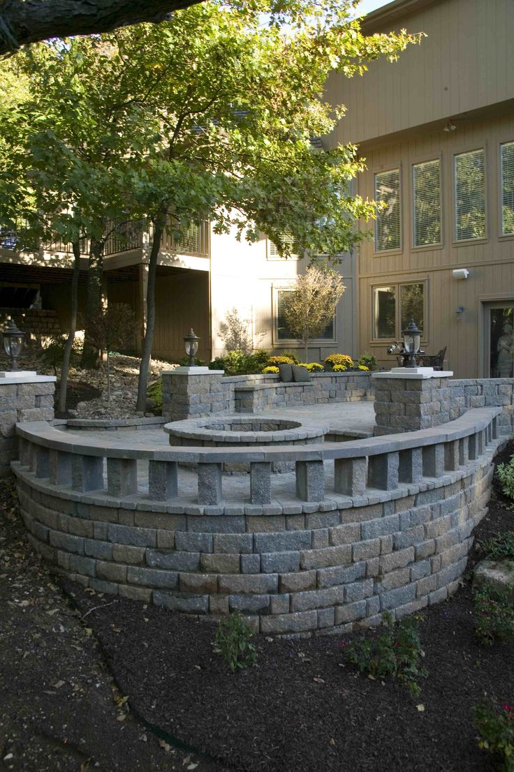 Stone Retaining Wall, Paving Stone Patio And Fire Pit