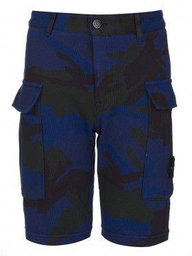 Stone Island Junior Royal Blue Camouflage Badge Shorts