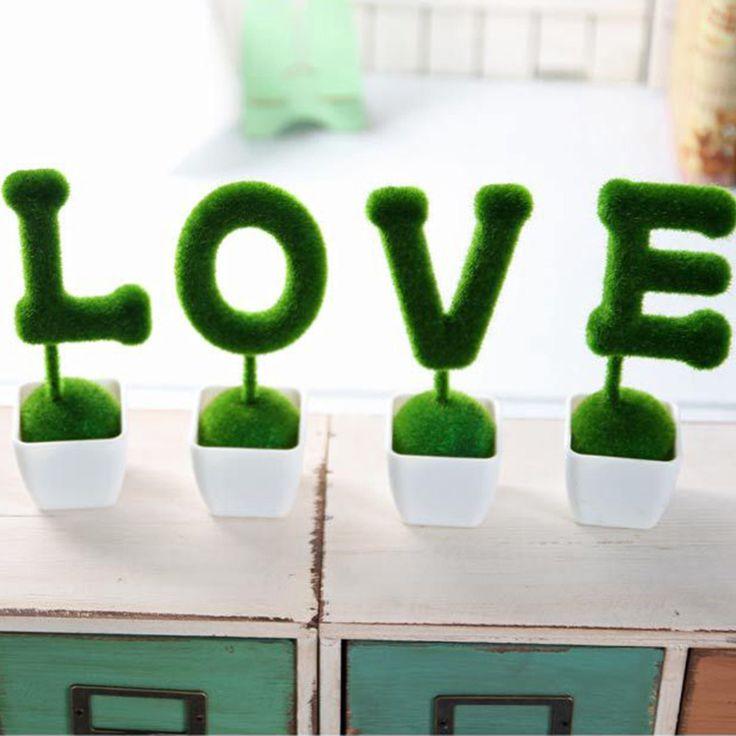 4 pcs/ensemble Fleurs Artificielles Faux Herbe Balle Simulation Plante Accueil Ornements De Mariage Décor Jour de Valentine Cadeau De Noël 2D(China (Mainland))