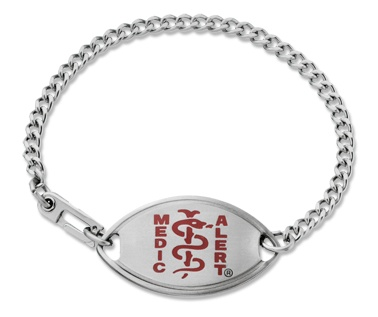 A medic alert bracelet is SO very important to have for any child who has any type of condition from an allergy to meds that would need to be given, to serious medical condition, to a speech issue or autism. It's important that a child is wearing a bracelet like this in the case of an accident or an event where the adult cannot communicate and the child needs medical attention.  This bracelet may be plain, but it's noticeable and what medical personnel look for, also hard for kids to take off.: Medical Profess, Blue Medical, Medicalert Bracelets, Medicalert Foundation, Chains, Medicalert Medical, Food Allergies, Medical Id Bracelets, Medical Conditioning