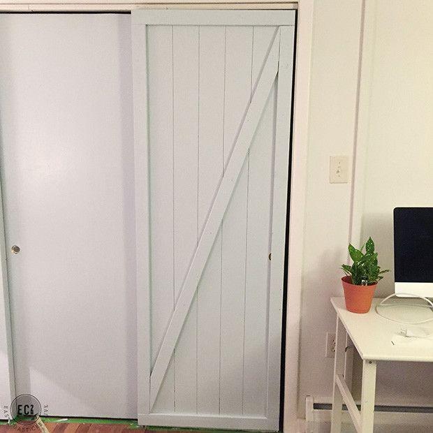 Diy Faux Barn Doors Hollow Core Door Makeover Closet