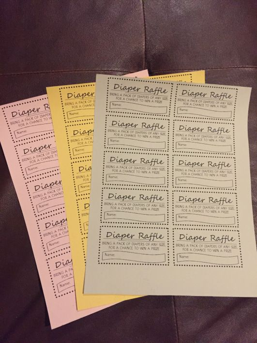Printable diaper raffle tickets for free. Insert into baby shower invitations.