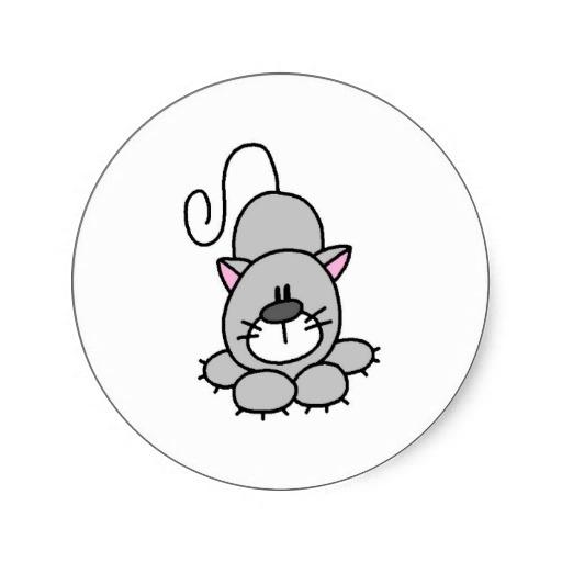 Stick Figure Cat Stickers from Zazzle.com