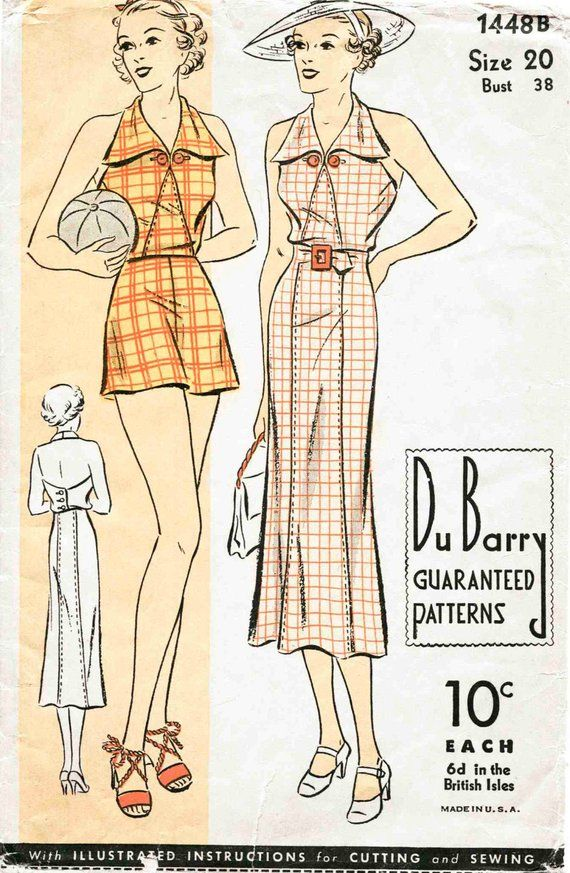 9462befaf3 30s 1930s vintage women s sewing pattern reproduction    halter playsuit     shorts    beach romper    sun dress    bust 32 34 36 38 40