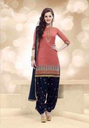 Salmon Color Elegant & Simple All New Unstitched Embroidered Patiala Suit