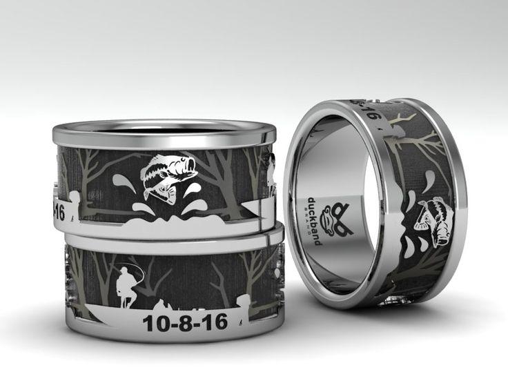 Custom Made To Order Bass Fishing Wedding Ring By Duckbandbrand Jewelry