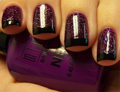 3 coats of Milani: Rad Purple, 2 coats of Nicoles: Pitch Black Glimmer & black tips.
