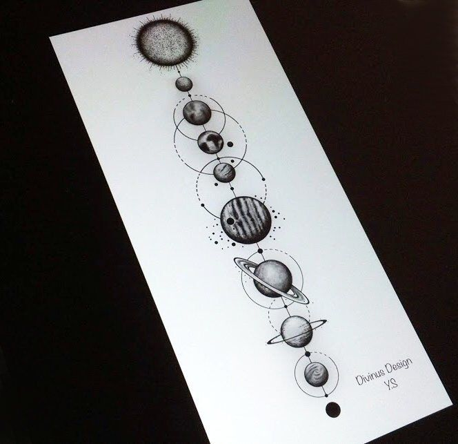 Geometric Solar System Tattoo and Stencil – Instant Digital Download – (two tattoo versions available)