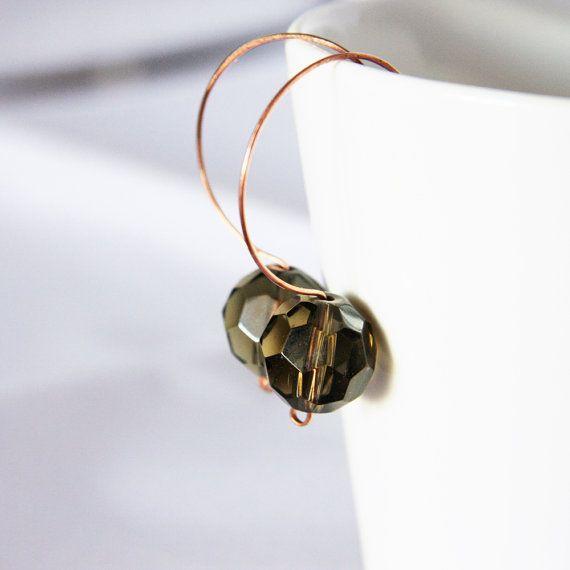 smokey glass and copper earrings  modern elegant by nanofactory, $18.00