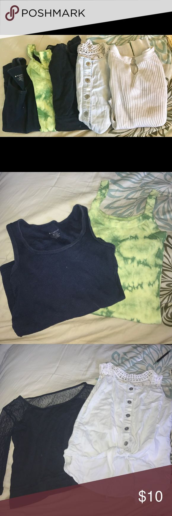 Children's small clothes Includes: 2 tank tops- navy(No Boundaries) and green tie die(Arizona Jean Co), Abercrombie navy blue top with mesh sleeves/back, Takara tie front tank with crochet sleeves, and Energie long sleeve white top. ALL CHILDS SIZE SMALL Abercombie Kids Shirts & Tops