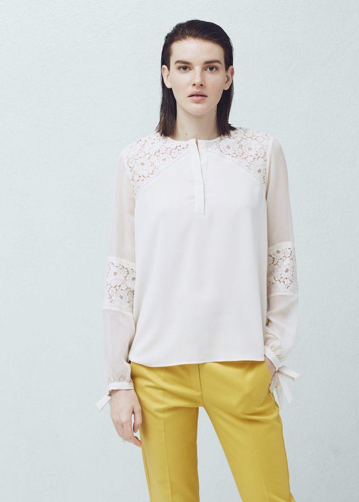 Blonda panel blouse - Shirts for Woman   MANGO