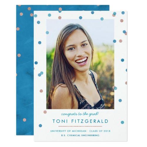 Teal & Rose Gold Confetti Photo Graduation Card