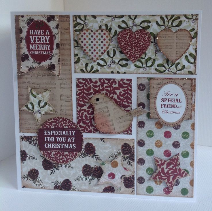 Card designed by Julie Hickey using Mistletoe 6x6 paper pad, die cuts and template. Gorgeous Christmas card in traditional colours with lovely sentiments, robin, hearts and stars.