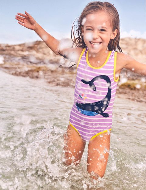 Make a splash with these colourful swimming costumes, featuring eye-catching appliqué details. Take a dip with the friendly whale or a mermaid with a fluttering tail, or choose a bright rainbow, juicy strawberry or 3D flowers or pretty butterfly.