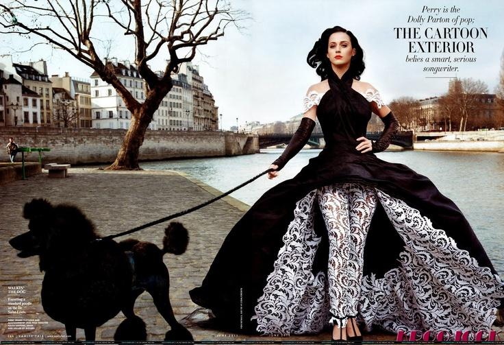 Beautiful KP look: Vanities Fair Magazines, Paris, Poodle, Annieleibovitz, Katy Perry, Jeans Paul Gaultier, Annie Leibovitz, The Dresses, Vanityfair