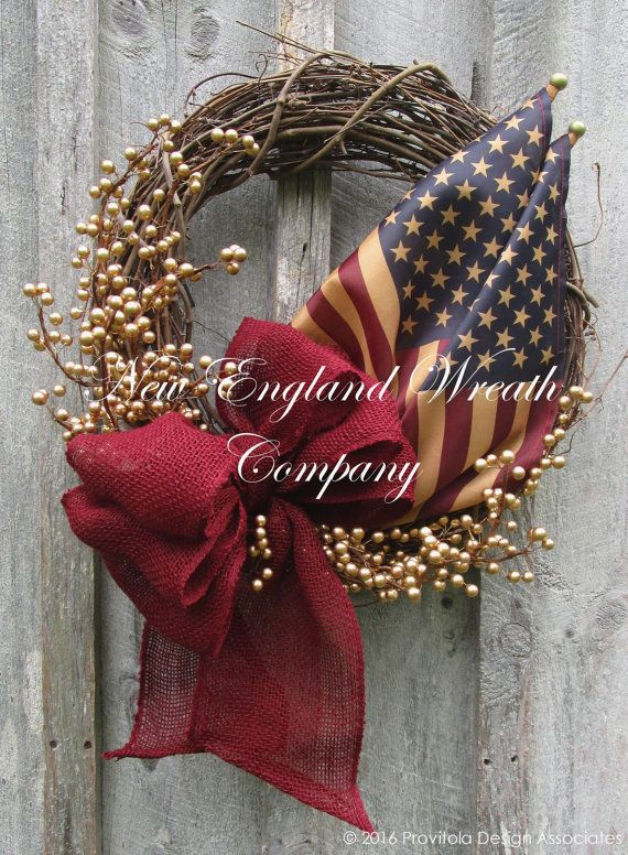 Americana Wreath, Patriotic Wreath, Memorial Day, Fourth of July Wreath, Primitive Americana, Military Wreath, Tea Stained Flag Wreath