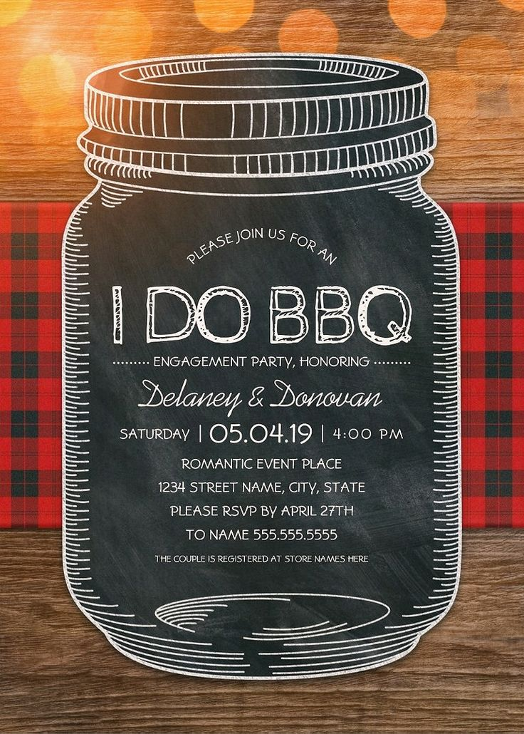 I Do BBQ Engagement Party Invitations – Unique Rustic Vintage Mason Jar Cards. Best rustic country engagement party / couples shower invitations. Feature a creative chalkboard mason jar illustration on a rustic wood background. A beautiful text typography that you can edit and change color if desired. Perfect for rustic country themed engagement party / couples shower parties. This creative mason jar engagement party / couples shower invitation is customized. More at http://superdazzle.com