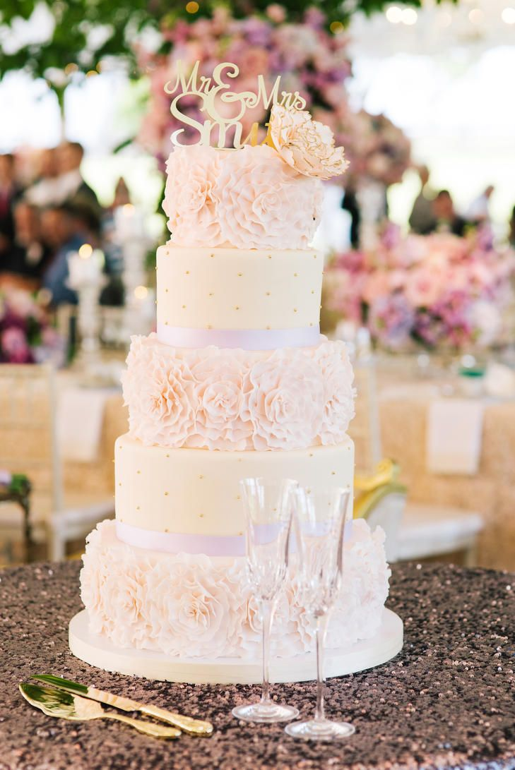 Pink Fondant Cake with Rosette Details and Gold Cake Topper | KATIE STOOPS PHOTOGRAPHY | http://knot.ly/6490BayUw