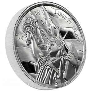 2 oz Liberty Island High Relief Silver Round - The Liberty Island Silver Ultra High Relief round is a great addition to any investment or numismatic collection of silver bullion. Each silver round is manufactured by the Elemetal Mint in extremely high relief and consists of two troy ounces of .999 fine silver.