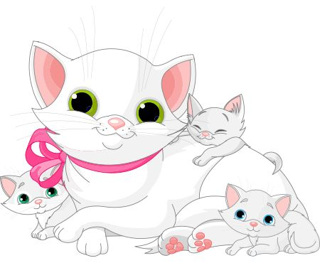 mama-cat-and-kittens.png (450×370)