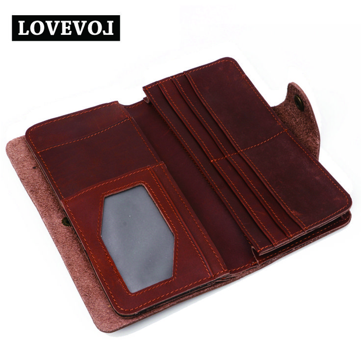 Cow Leather Men Wallets Long Design Vintage Hasp Brown Solid Men Purse Brand Multi-card Luxurious Men's Wallet 001A