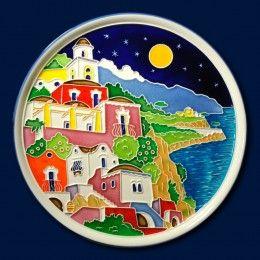 Piatto in ceramica con Casette Mediterranee mod. A