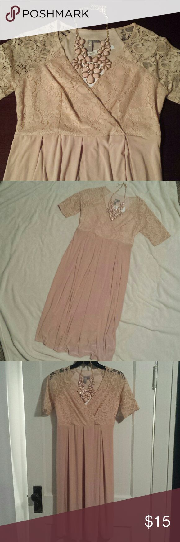 NWT ASOS pink maternity dress Light pink, blush, nude colored maternity dress new with tags!! This dress is a size 2. I am 5'7 and this is knee length on me while 7 months pregnant. The model is 5'11 and is wearing a size 4. Beautiful dress but the color was not right for me. Beautiful lace top with flowy soft bottom. Necklace not included :) ASOS Maternity Dresses