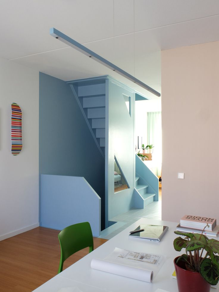 Lagado Architects creates colourful live-work spaces inside Dutch home - The couple overhauled the interior to include more versatile living spaces that could be used for w - Design Café, House Design, Chair Design, Terrazzo Flooring, Living Spaces, Work Spaces, Space Architecture, Interactive Architecture, Ground Floor Plan