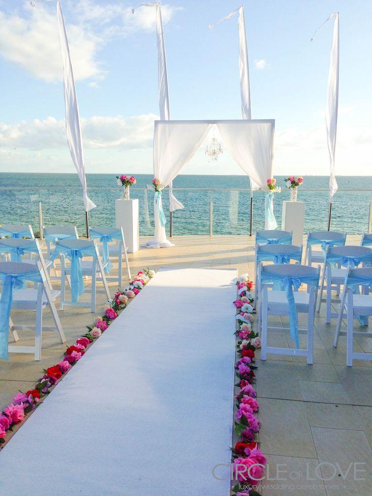 Floral train for white aisle, Sandringham Yacht Club, Melbourne Weddings