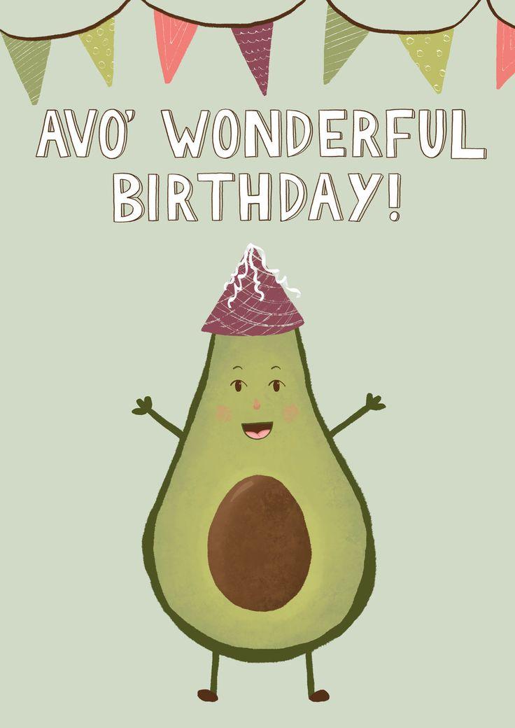 Avo Wonderful Birthday Greeting Card Design Avocado