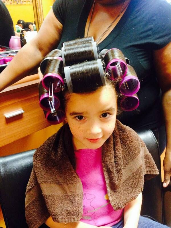 start them off at a young age  wet set with rollers in 2019  Sleep in hair rollers Sandy hair
