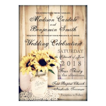 Rustic Country Sunflowers Mason Jar Wedding Invite - tap, personalize, buy right now!