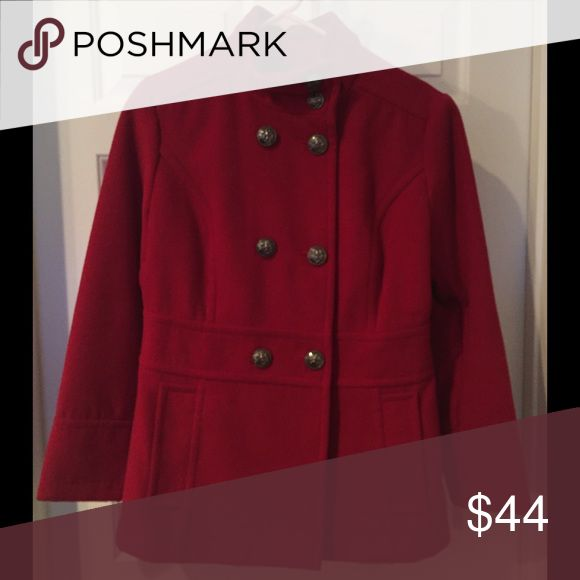 Red Pea Coat Women's large petite red Pea coat by Liz Claiborne. Worn once, perfect condition. Tailored slightly at the waist to be more of an hourglass. Liz Claiborne Jackets & Coats Pea Coats