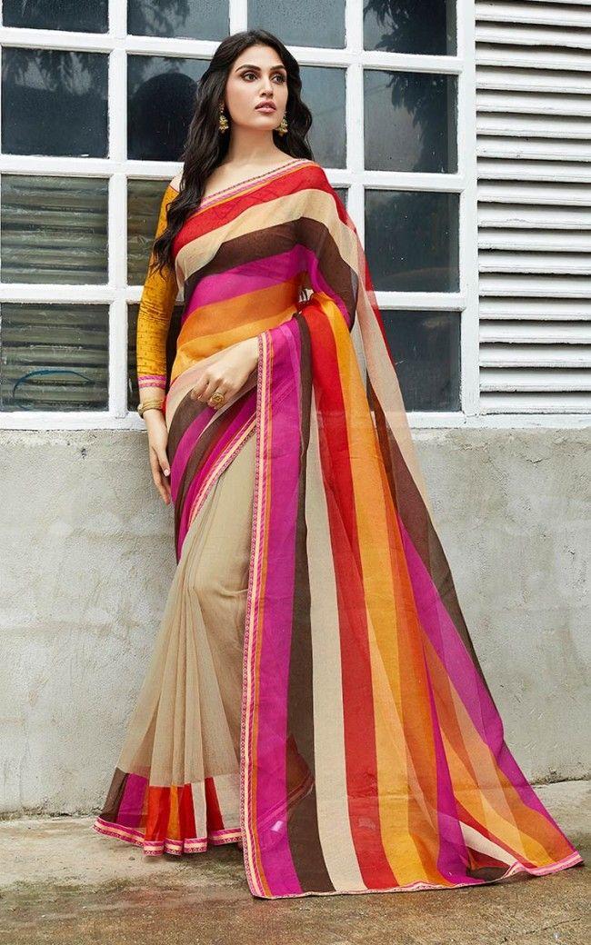 da921878a7 Rajjo Net Multi Color Designer Saree in 2019 | Engagement Sarees ...
