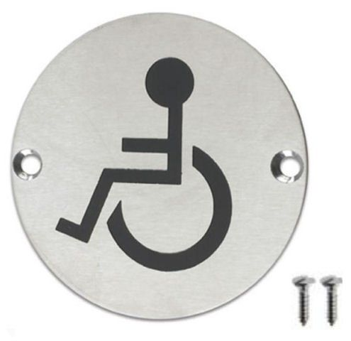 From 2.18 Stainless Steel Door Sign Disabled Less Able Toilet Symbol 75mm