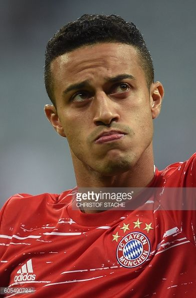 Bayern Munich's Spanish midfielder Thiago Alcantara is pictured prior to the Champions League group D football match between Bayern Munich and FC...