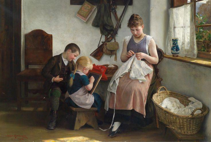 Albert Ritzberger (1853-1915)  — Idyllic Family Scene, 1892  (1483x1000)