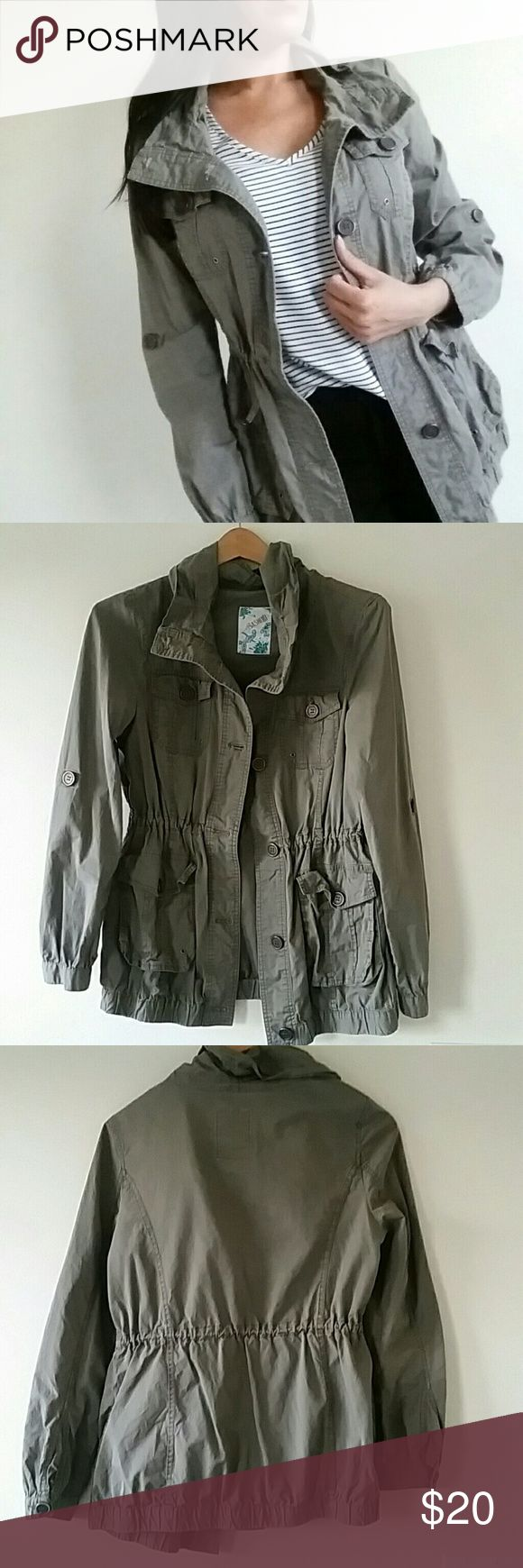 Sashimi Military Jacket Green Military Jacket by sashimi for Nordstrom. Featuring a button up design and inner drawstring waist. Great layering piece. In good condition. Sashimi Jackets & Coats Utility Jackets