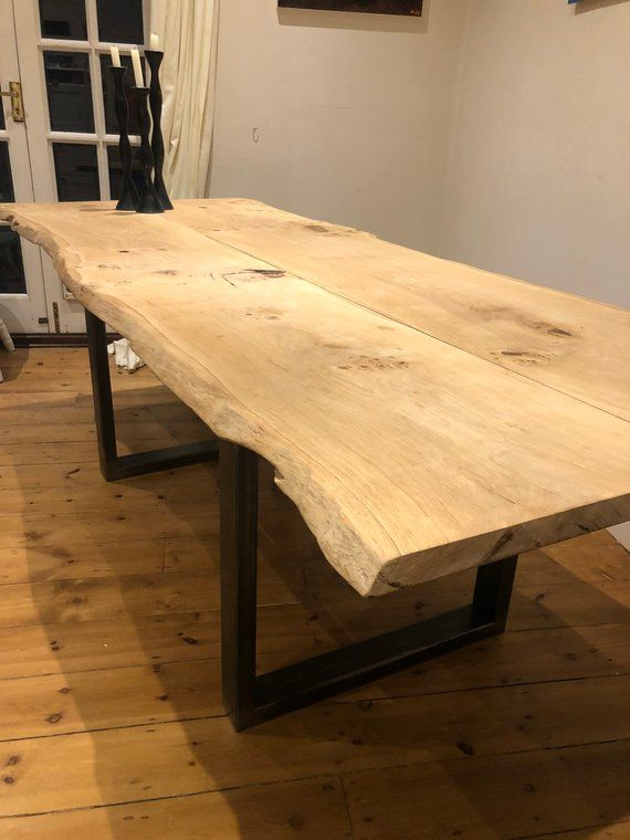 Bespoke Industrial Waney Edge Dining Table Dining Table Table