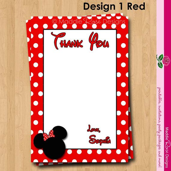 Minnie Mouse Thank You Note Printable, Red Or Pink