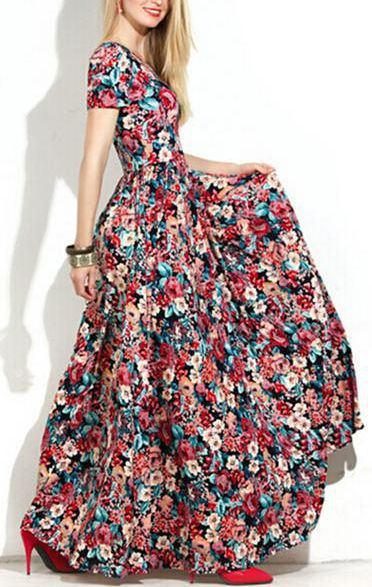 Floral Print High Waist Scoop Long Dress