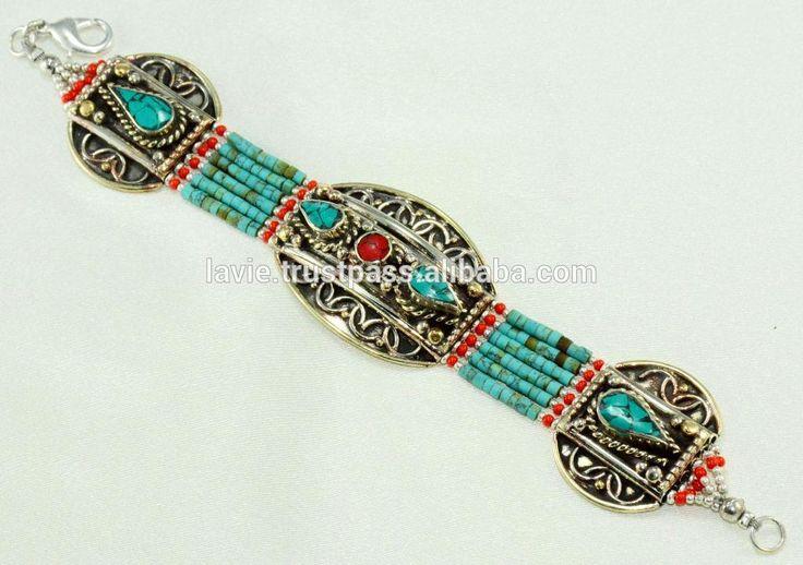 Indiano Braccialetto D'argento, Tibetano Braccialetto Turchese, Braccialetto di modo