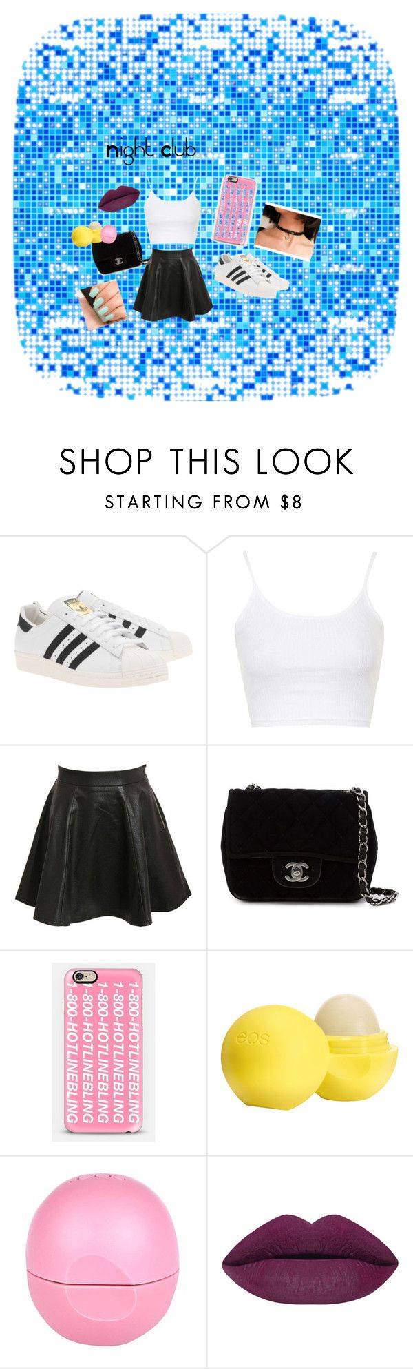 """Night Club"" by lidage on Polyvore featuring adidas Originals, Topshop, Pilot, Chanel, Casetify, Eos, River Island, NARS Cosmetics, Marlangrouge and NightOut"