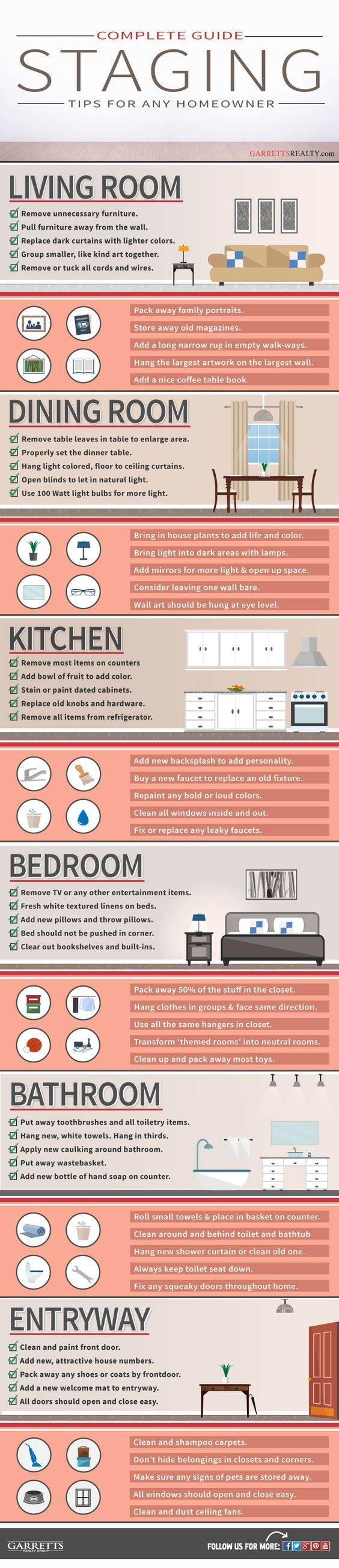 60 different tips to follow when staging a home for sale - Infographic. Staging your home helps in speeding up the sale as well as put some extra dollars. #home #decor #realestate