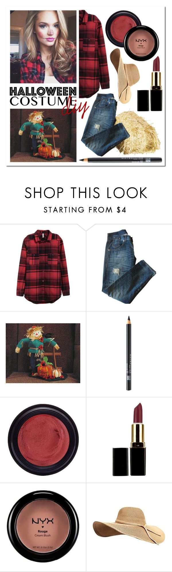 """""""DIY Halloween Costume: Scarecrow"""" by kimmyellipsis ❤ liked on Polyvore featuring GUESS, Maybelline, Real Purity, NYX, Halloween, makeup, plaidshirt, halloweencostume and DIYHalloween"""
