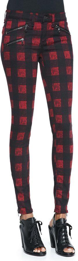 rag & bone/JEAN RBW 23 Zip-Pocket Twill Jeans, Red Buffalo