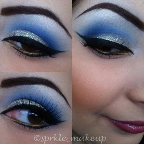 Silver glitter with blue: Makeup Nails, Disney Makeup, Eye Makeup, Beautiful Blue, Eye Shadows, Hair Makeup, Blue Eye, Makeup 3, Drag Inspiration