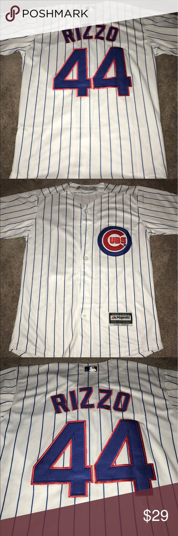 Kids Anthony Rizzo Chicago Cubs jersey (Medium) Youth Chicago Cubs Anthony Rizzo  Majestic Athletic home jersey. Brand new with tags, fully embroidered, size medium.Check my other listings for more Cubs merchandise, including jerseys for Men, Women and Kids! Majestic Shirts & Tops Button Down Shirts