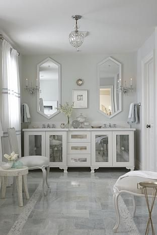 sarah richardson sarah house 4 antique mirrors & feet added to standard cabinet to give custom look